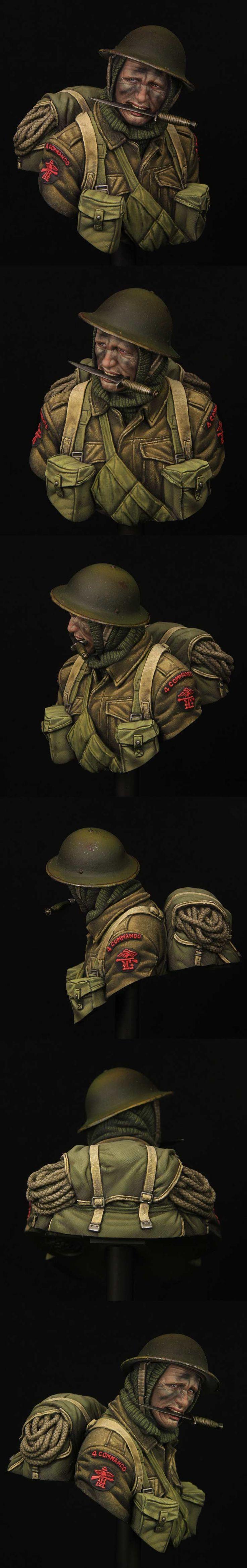 WWII British Commando 1 \ 10 stupnice busta z mladých miniatur