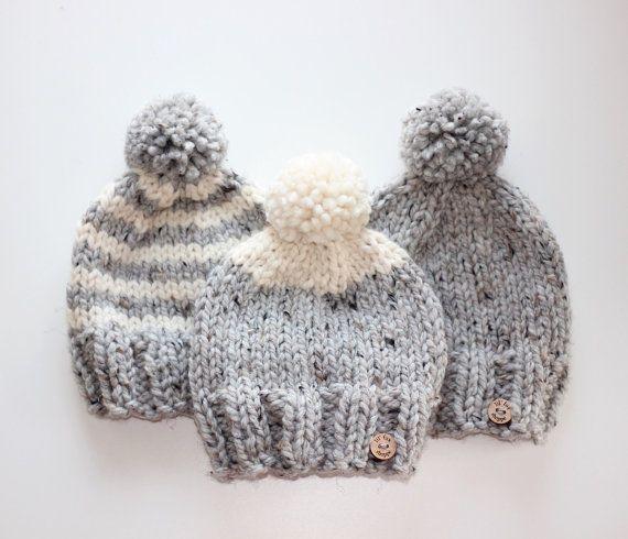 Lil' Pom Toque Knit Hat Children's Hat Knit Toque by lilfoxshoppe