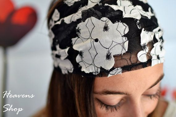 Black Wide Net Material-Lace Appearence Headband by HeavensShop