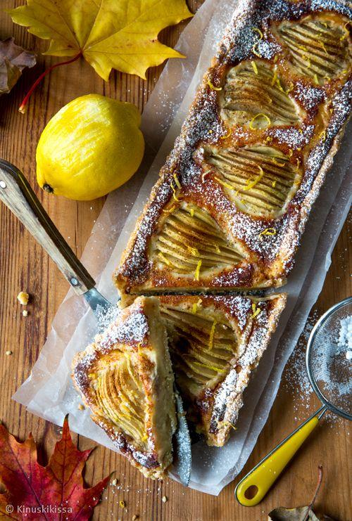 Sitruunainen päärynäpiiras #resepti #piirakka #päärynä #sitruuna #makea