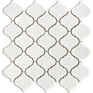 For my back splash: Lantern White Porcelain Mesh-Mounted Mosaic Tile at The