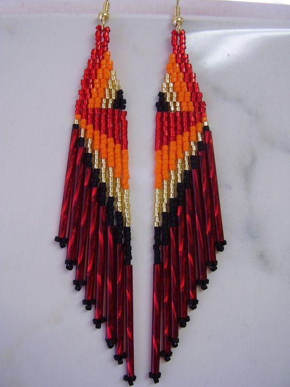 Native American Beaded Red. Orange, Gold, amd Black Earring. #beadwork