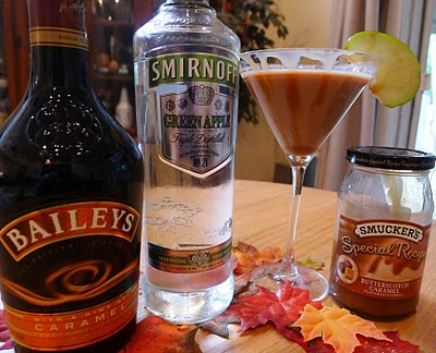 Carmal apple Martini  Recipe: 1 oz. Baileys Irish Cream 1/2 oz. Smirnoff Green Apple Vodka 1 slice of apple 1 teaspoon caramel  Pour Irish Cream and Vodka in a mixer with ice. Shake and strain into martini glass. Garnish with apple and caramel Easy!