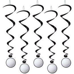 Hangdecoratie Whirls Volleybal -  Vijf prachtige hangdecoratie met onderaan een decoratie van een volleybal. Lengte: 100cm.