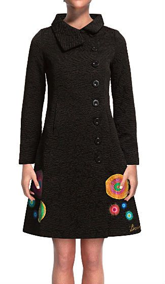 desigual 2013 new 36e2905 sara Embroidery Flowers Pattern Print coats for woman's women coat trench and balck XS S M L XL bag 46 $59.99