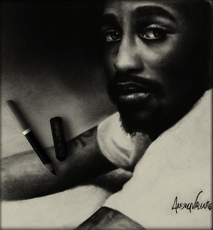 """""""Tupac"""" [Available] Portrait in graphite and charcoal on paper 21cm x 30cm"""