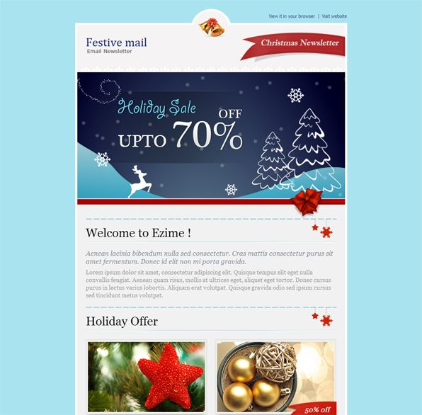17 best images about more christmas holiday landing page for Mail chimp newsletter templates