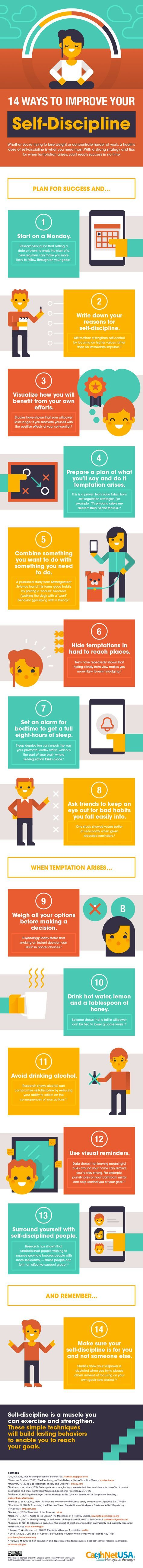 14 Ways to Improve Your Self-Discipline #infographic