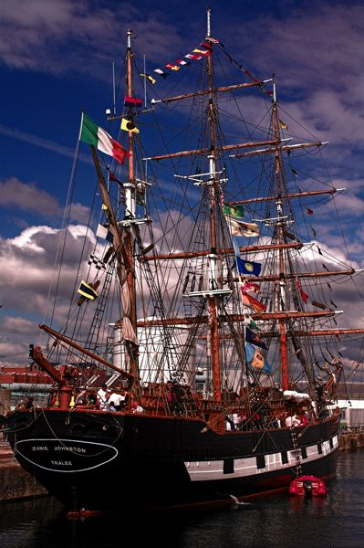 The tall ship Jeanie Johnson berthed at the Wellington Dock Liverpool, England Copyright: Jim McVey