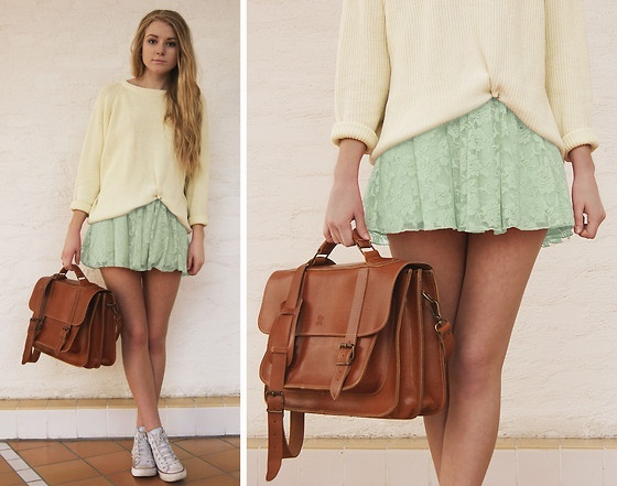 Love this style -- mint green lace skirt and soft blousy top accessorized with leather messenger bag and white chucks!