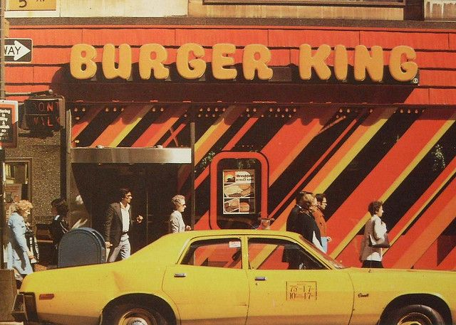 1970s NYC vintage BURGER KING Yellow Taxi Cab NEW YORK CITY 5th Avenue by Christian Montone, via Flickr