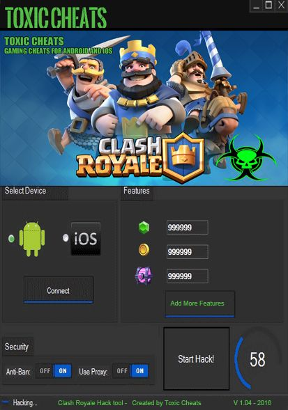 Clash Royale Cheats Hack Tool Unlimited Gems - Toxic Cheats