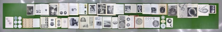 'Round Series (Ground Selection)' / 2011 / 420 x 75 cm / Installation with 31 books, 3 pages, and 9 objects at Forde, Geneva CH