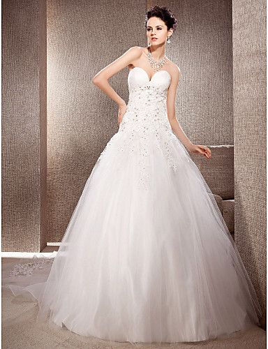 Ball Gown Sweetheart Natural Chapel Train Sleeveless Lace-up Lace Glamorous Dramatic Church Wedding Dress #169786(More color option)