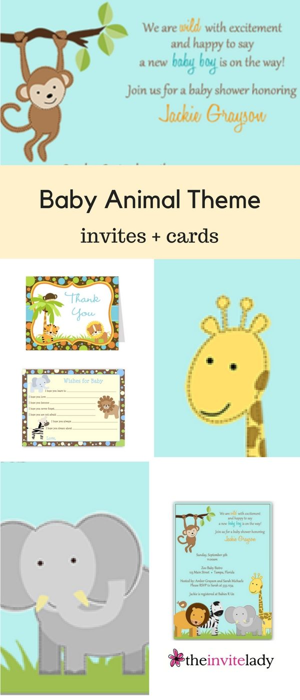"""""""Baby animal theme baby shower cards - Find Baby Shower Stationary for your baby girl or baby boy mom-to-be. Gender neutral ideas as well! Get more invites, invitations, stationary, cards, Bingo and party games, recipe cards, thank you notes, and more for showers and parties at www.theinvitelady.com"""