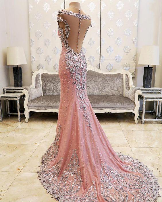 Večerní šaty * růžová látka se stříbrnou korálkovou výšivkou - nádherné ♥♥♥