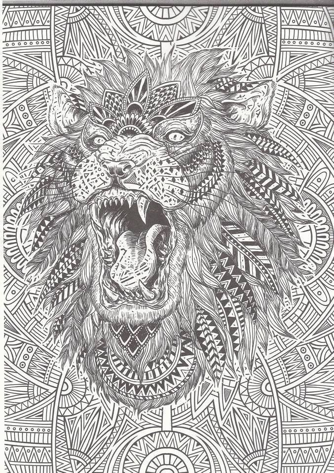 I love how thisimage not only has an amazinglydetailed lion it also has a very unique background! More cool stuff at bestadultcoloringbooks.com