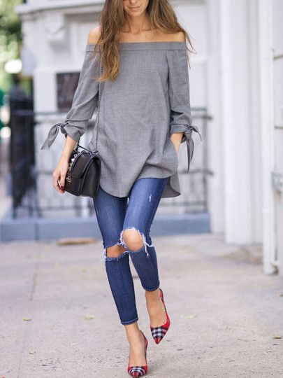 Long Sleeve Off The Shoulder Knotted Blouse