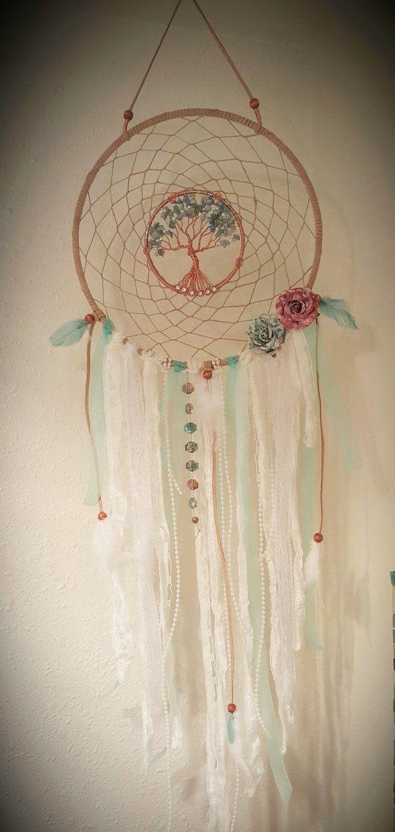Árbol de la vida Dream Catcher/Vintage/colgante de pared/de la menta verde/hecho a mano
