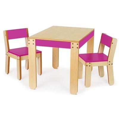 Fuchsia Table and Chairs for Kids Rooms - Play Table and Chairs for Playroom or Preschool - Arts and Crafts Table and Chairs for Toddlers