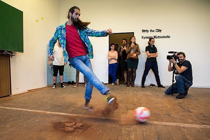 Kyougo Matsumoto - STRIP THE CITY. Final presentation of our Japansese artist in residence: artistic football installation #plzen2015 #plzen #artistinresidence #football #studio #japan #ball #sport #art