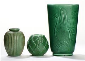Vare: 4202867 Arne Bang, Aluminia og Michael Andersen. Tre vaser (3)