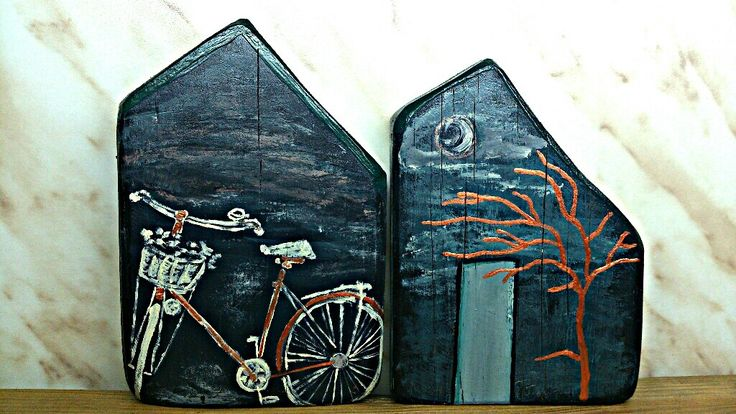 Handmade home made by pallet wood painted with acrylics by Anna Vassila
