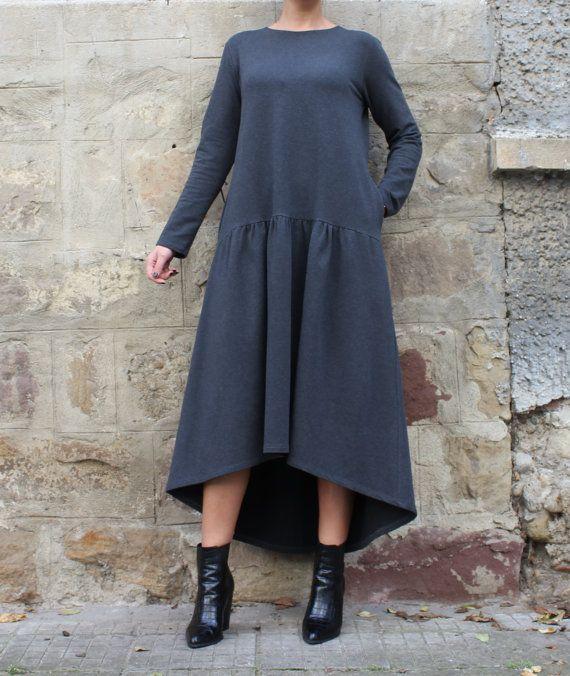Grey Maxi-Kleid elegantes Kleid mit Taschen von cherryblossomsdress