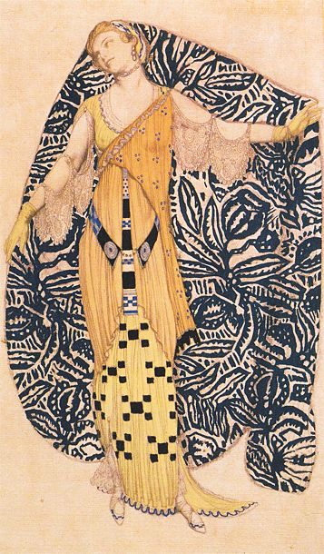 Leon Bakst 'Dioné'(modern dress), 1910. -Baskt is from France. - week 1, historical illustration, Eduardo -women -materials: pencil and watercolour. - I like this illustration's use of pattern and background. I also like its flat 2d quality.