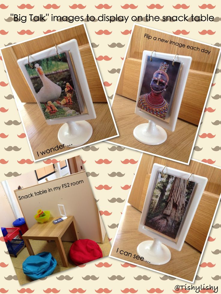 "Using the Tolsby frame from Ikea, I made our ""Big Talk"" inspiration album. This will be on the snack table to encourage talk between the children and adults. A new image will be displayed each day."