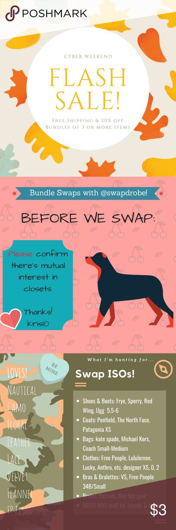 Free shipping on bundles of 3 or more! Cyber weekend deal!   FREE SHIPPING on bundles of 3 or more + 20% off, through Monday only!  If you want to swap, let me know and I'll see if we can work something out, pretty! Swapdrobe Dresses