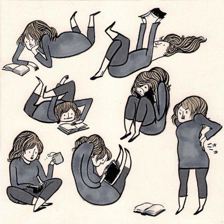 Cuando una se empeña en ponerse a leer en cualquier postura menos la correcta...