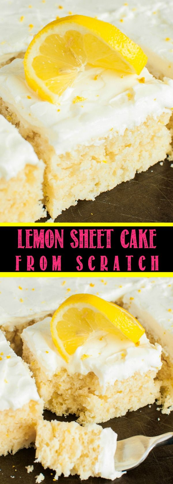 This easy Lemon Sheet Cake with Lemon Cream Cheese Frosting is made from scratch and better than a box mix! You will LOVE this moist, vibrant lemon dessert!