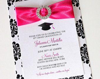 Invitaciones de graduación Glam | Invitaciones de Damasco | Invitaciones de graduación de Bling | Anuncio de graduación | Colores pueden ser modificados para requisitos particulares