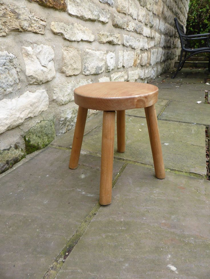 Vintage round topped beech stool