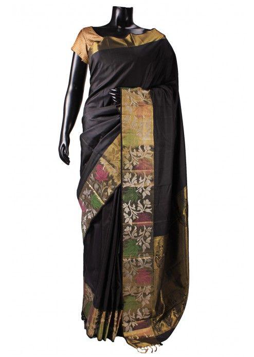 Black Colour Kanchipuram Silk Saree with Heavy Border - SR2686