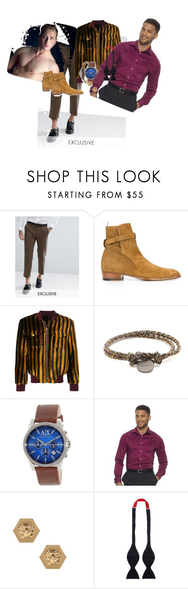 """ColorS and style"" by betty-verlinden on Polyvore featuring Heart & Dagger, Yves Saint Laurent, GCDS, Bottega Veneta, Armani Exchange, Chaps, Versace, Turnbull & Asser, men's fashion en menswear"