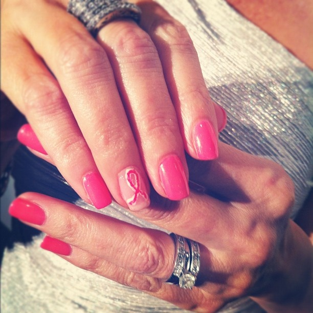Host (and survivor) Nancy Hornback rocking a pink for the cure mani at the 2012 #FFANY Gala in New York City
