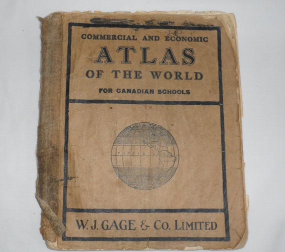 1924 RARE SCHOOL ATLAS / Rare Copy of Commercial And by BYGONERA, $125.00