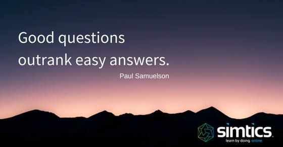 Quote: Good questions outrank easy answers. ~ Paul Samuelson ~  #quotes #inspiration #education #SIMTICS