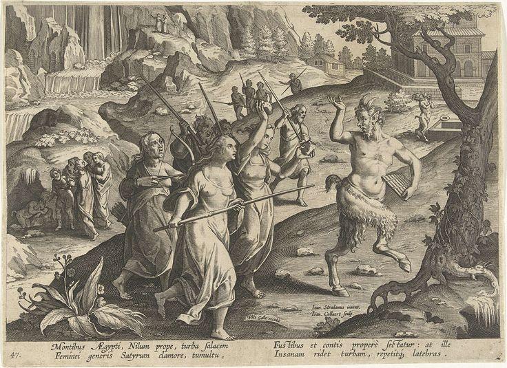 Jan Collaert (II) | Vrouwen verjagen een sater, Jan Collaert (II), Philips Galle, Cornelis Kiliaan, after 1596 - 1628 | Een slapende sater wordt in een grot door dorpelingen gevonden. De vrouwen jagen het boswezen met wapens weg. De prent heeft een Latijns onderschrift en is deel van een serie over jachttaferelen.