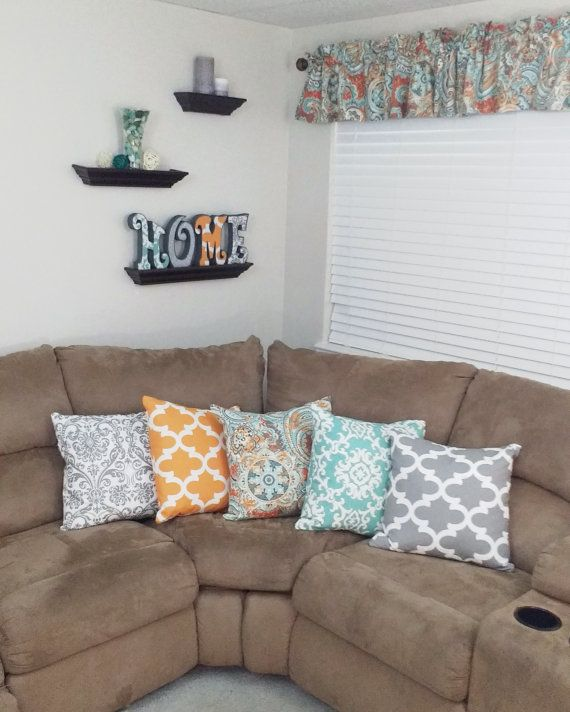 PILLOW FORM Down Duck Feather Kimberly Collection Throw Pillows Valances Coordinating Aqua Turquoise Teal Gray Orange Kitchen Curtains