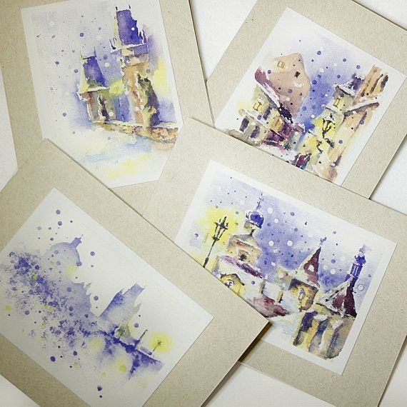 Set of 4 Christmas greeting card with Prague view - romantic greeting card, Christmas gift $16.50 USD  https://www.etsy.com/listing/171245434/set-of-4-christmas-greeting-card-with?ref=shop_home_active
