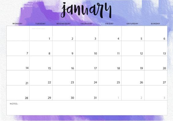 january 2019 calendar landscape  printable  calendar