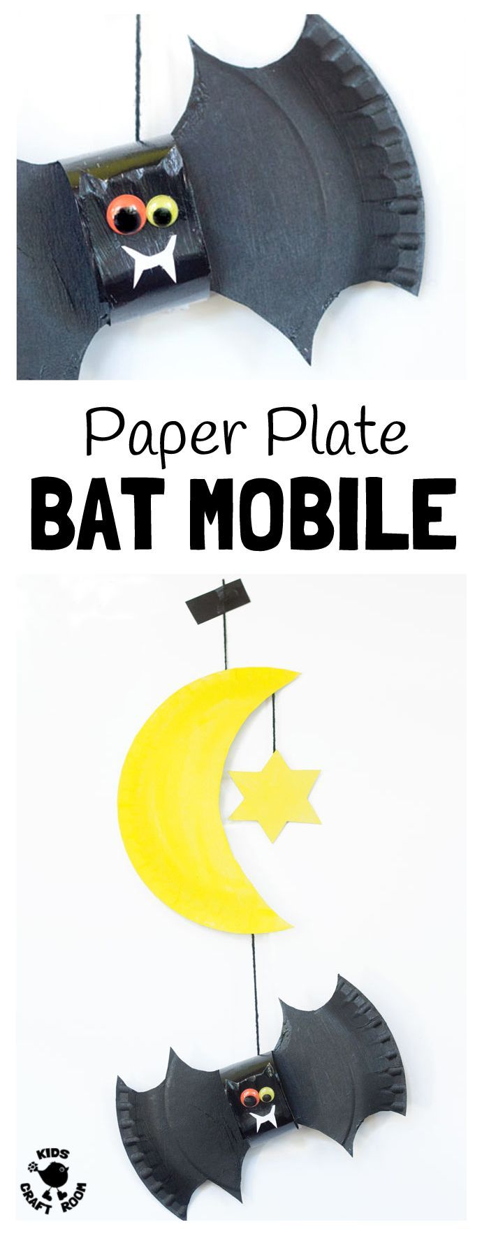 PAPER PLATE BAT CRAFT -Let's go batty making bats! This 3D paper plate bat craft makes a great bedroom mobile and is fun as a Halloween craft too. A great DIY Halloween decoration for your Halloween party.