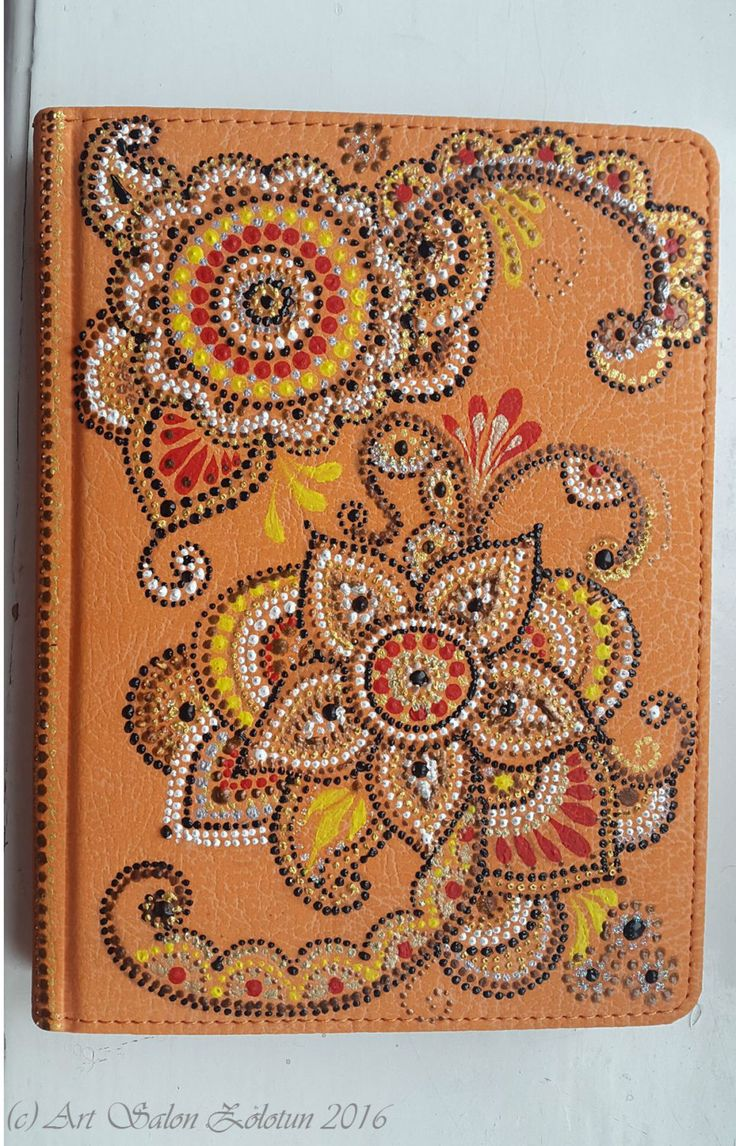 "Hand painted, dot to dot pattern notebook "" Blossom"" by Zolotun on Etsy"
