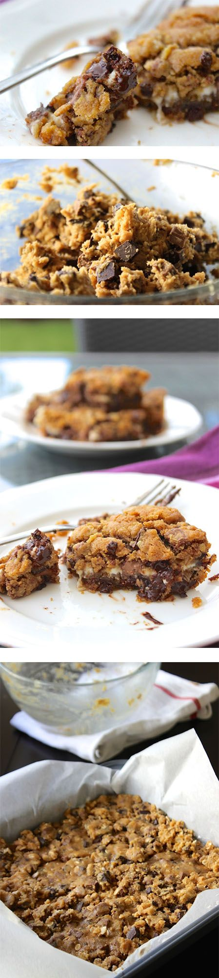 ... chocolate chip cookie cheesecake bars oozing with melted chocolate
