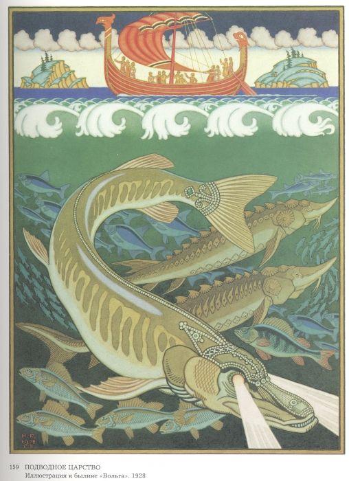 Билибин Иван Яковлевич. Подводное царство. Иллюстрация к былине Вольга