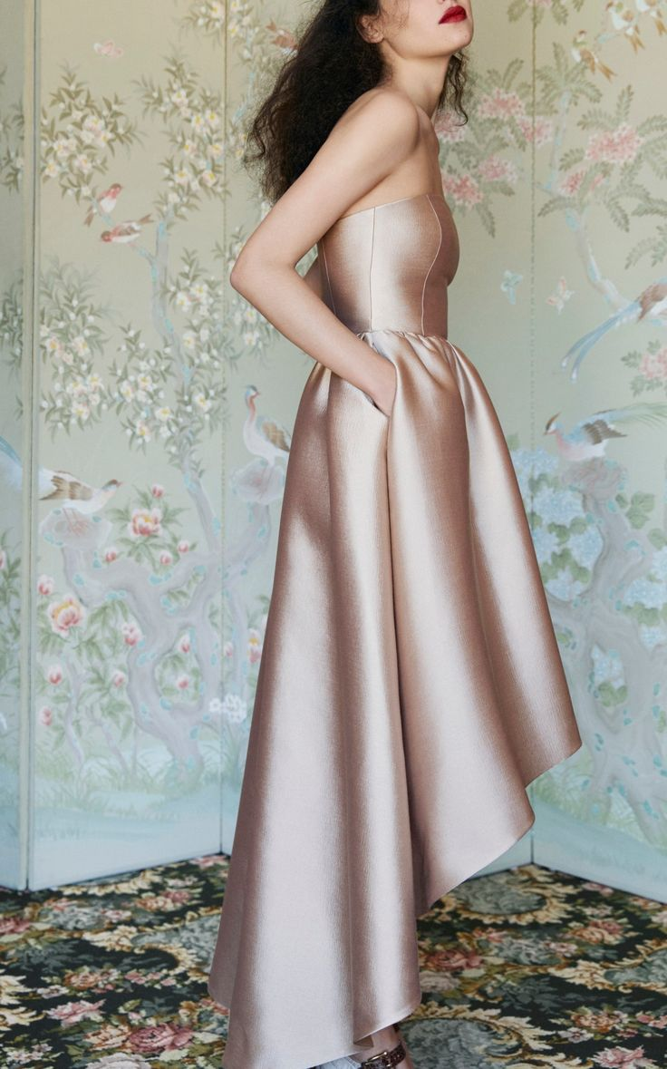 Bonded Silk Twill Strapless Gown by Co