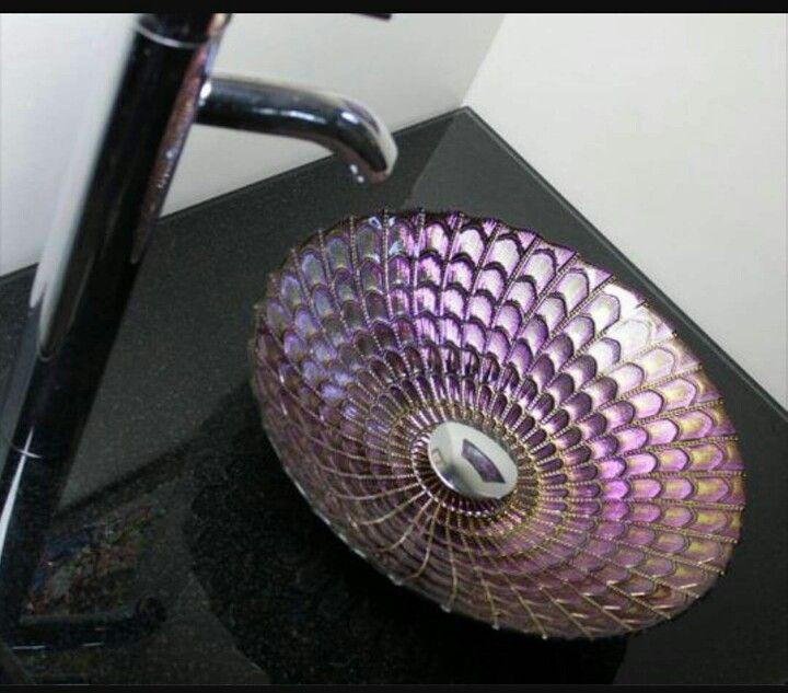 Metallic Purple Pink Unique Designer Glass Bathroom Vessel Sink Byu2026
